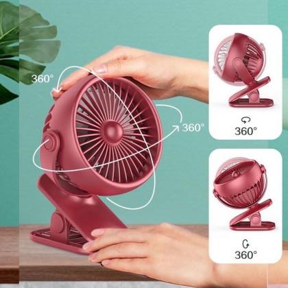 720 Spin LED Light Portable Hand Mini Clip Cooling Fan