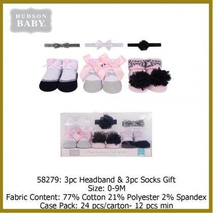 Hudson Baby Giftset 3pc Headband & 3pc Socks - 58279